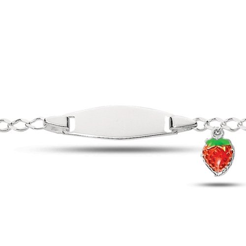 Baby Id Curb Link Bracelet With Strawberry In Sterling Silver (6 Inches)