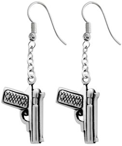 Pistol Handgun Pewter Earrings