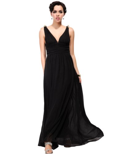 Ever Pretty Elegant V-neck Long Chiffon Crystal Maxi Evening Dress 09016, HE09016BK18, Black, 16US