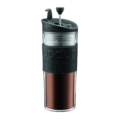 Bodum Insulated Plastic Travel French Press Coffee and Tea Mug, 0.45-Liter, 15-Ounce, Black (Bodum Coffee Presses compare prices)