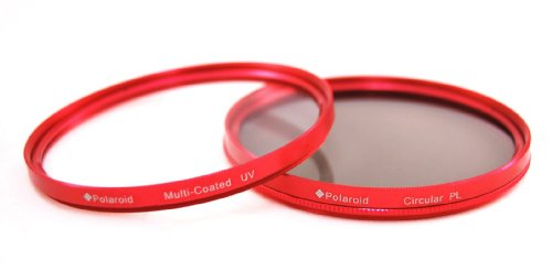 Polaroid Optics Multi-Coated Dual Filter Kit RED (MC UV, CPL)For The Sony NEX-VG10, NEX-VG20 Handyman Camcorder With 18-200mm Lens