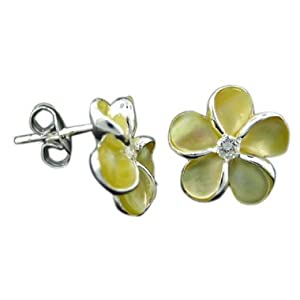 925 Silver Mother of Pearl Plumeria Earrings Hawaiian Silver Jewelry