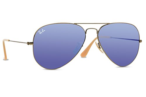 ray ban aviator polarized sunglasses x6c8  Ray-Ban 0RB3025 Aviator Metal Non-Polarized Sunglasses, Demiglos Brusched  Bronze/ Blue