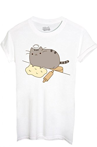 T-SHIRT PUSHEEN IL GATTO 1-FAMOSI by MUSH Dress Your Style - Donna-S-BIANCA