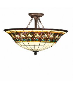 B001CACS8O Kichler Lighting 69050 4-Light Provencia Art Glass Semi-Flush Ceiling Light, Art Nouveau Bronze Finish