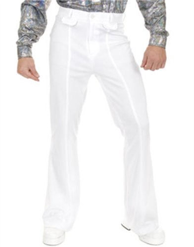 Adult Mens 70s Disco Leisure White Polyester Pants