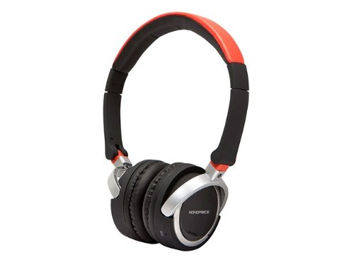Monoprice 109388 Premium Bluetooth Over-The-Ear Headphone With Built-In Microphone For Cellphones - Retail Packaging - Red