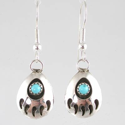 Small Southwestern Native American Handcrafted Bear Paw Dangle Earrings in Turquoise and Sterling Silver, #10874