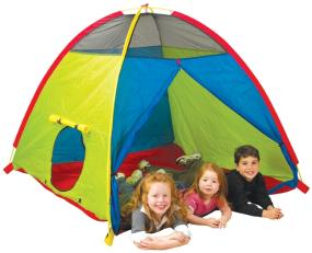 "The ""Super Duper"" 4-Kid play tent features 2 round tunnel ports with velcro closure and one large zippered door."