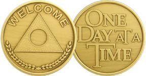 Welcome - One Day At A Time - Bronze AA (Alcoholics Anonymous) -ACA-AL-ANON - Sober / Affirmation / Sobriety / Birthday / Anniversary / Recovery / Medallion / Coin / Chip - 1