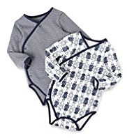 2 Pack Pure Cotton Robot Print & Striped Wrap Bodysuits