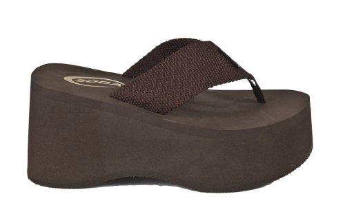 Vacation! By Soda High Platform Wedge Flip-Flop Sandals, Brown Eva, 7 M