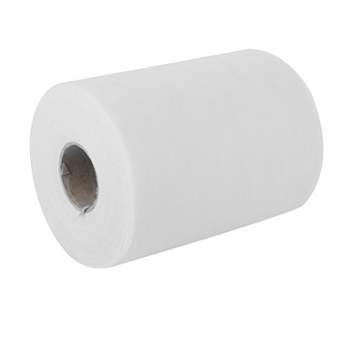 6-100-Yards-Rollo-de-Tul-Papel-Decoracin-Regalo-para-Boda-Blanco