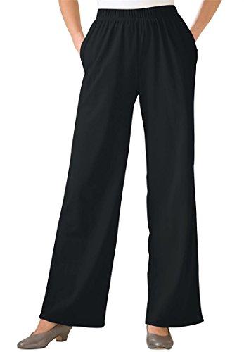 Women's Plus Size Petite 7-Day Wide Leg Knit Pants Black,3X (Wide Leg Pajama Pants compare prices)