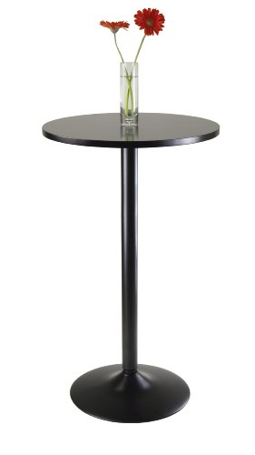 Winsome Obsidian Pub Table Round Black Mdf Top with Black Leg And Base