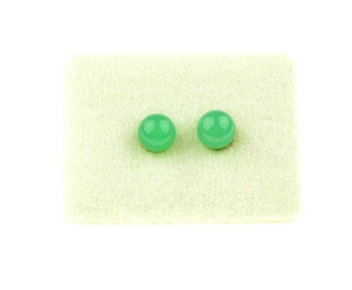 C-c paire de boucles d'oreilles pierres précieuses» chrysopras -925er vergoldet- vert argent
