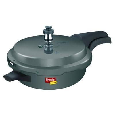 Prestige Deluxe Plus Junior Pan Induction Base Hard Anodized Pressure Cooker, Black, 3 litres