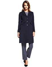 M&S Collection Wool Blend Notch Lapel Long Coat with Cashmere
