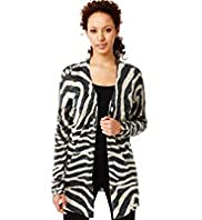 Open Front Animal Print Cardigan with Linen