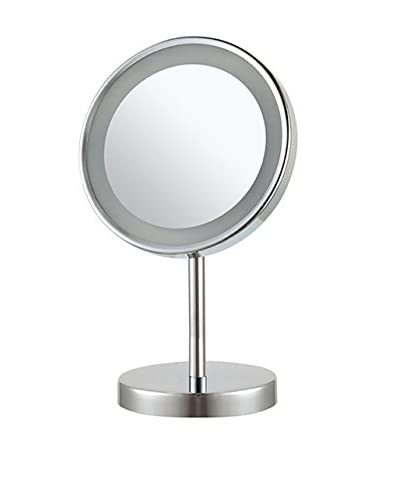 Nameeks Round Free Standing 3X LED Makeup Mirror, Chrome Finish