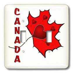 SmudgeArt Canada Art Designs - Canada - Maple Leaf - Hearts - Light Switch Covers - double toggle switch