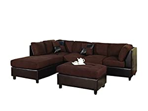 Bobkona Hungtinton Microfiber/Faux Leather 3-Piece Sectional Sofa Set, Chocolate