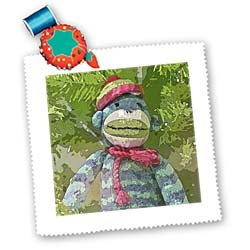 Lee Hiller Designs Colorful Sock Monkeys - Colorful Sock Monkeys Hoilday I - Quilt Squares