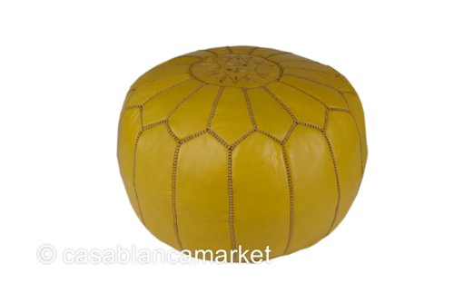 Moroccan Embroidered Leather Pouf / Ottoman, Yellow (Stuffed)