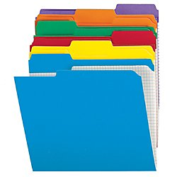 Office Depot Reinforced Tab Color File Folders With Interior Grid, 1/3 Cut, Letter Size, Assorted Colors, Box Of 100, ODR15213AS