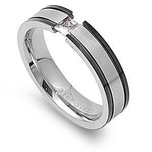 Size 12, 5MM Stainless Steel Princess Cut CZ Tension Wedding Band (Size 7 to 12)