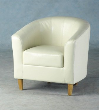 WorldStores Cream Armchair Living Room Faux Leather 1 Seat Chair
