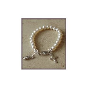 CHR-01F Infant Freshwater Pearls w/Cross Sterling Silver Infant Christening Bracelet 0-12 months Baptism