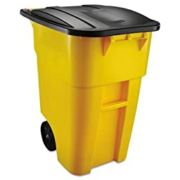 Rubbermaid Commercial Products 9W27YEL Brute Rollout Container Square, Plastic - Yellow