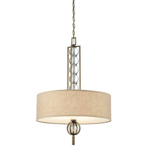 B004RVLI1S 42192CMZ Celestial 3LT Pendant, Cambridge Bronze Finish and Taupe Crinkle Fabric Shade