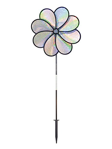 In the Breeze Silver Sparkle 8-Petal Flower Spinner, 14-Inch