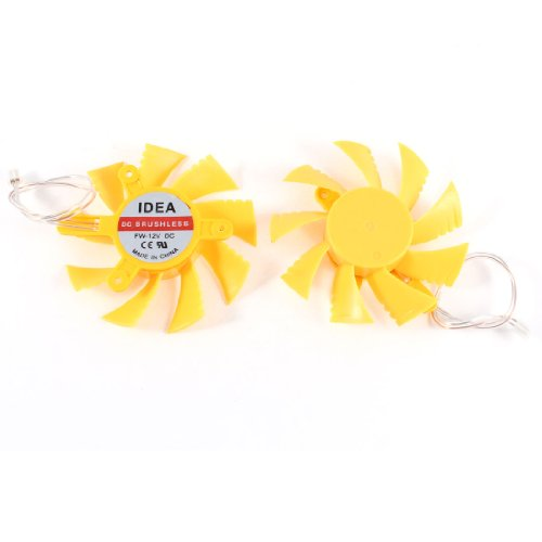 2 Pcs Computer VGA Video Card Cooler Cooling Fan Yellow 75mm 2Pin 12V free shipping gdstime 2pcs dc12v brushless cooling fan 25 25 7 mm 2507s 2pin 25x7mm 9 blade mini cooler