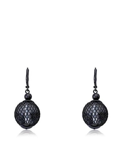 Riccova Country Chic Black Rhodium Plated Mesh Lucite Ball Dangle Earrings
