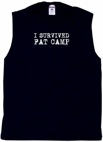 I Survived Fat Camp Men's Tee Shirt Large-Black SLEEVELESS