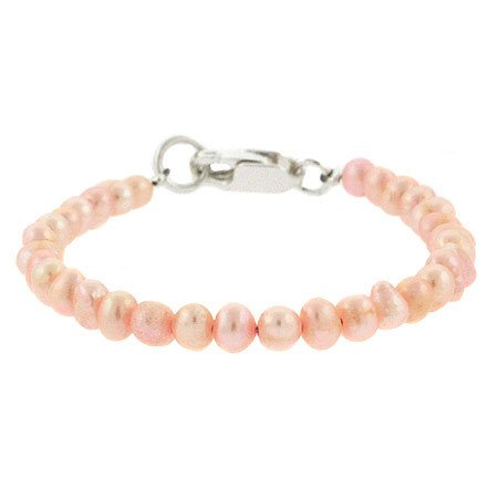 5mm Genuine Freshwater Cultured Pink Pearl Sterling Silver Beaded Infant Baby Girl Bracelet