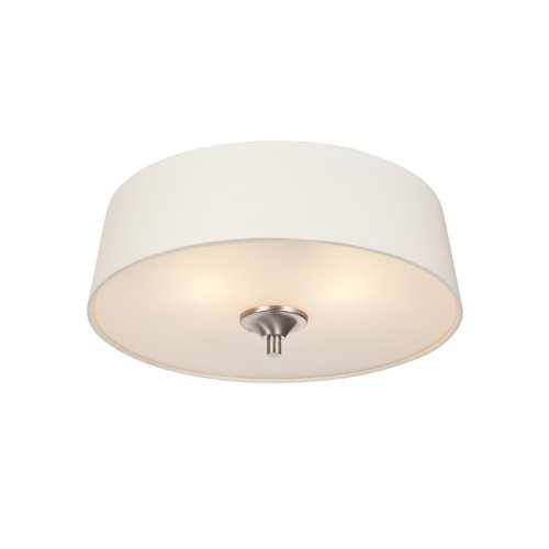 Westinghouse 6225900 Parker Mews Two-Light Interior Flush-Mount Ceiling Fixture, Brushed Nickel Finish With White Linen Fabric Shade