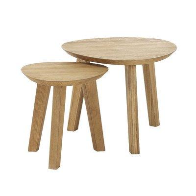 Bajo continuo-Living 11762 mesa de café mesa de centro de mesa nido Xena 101, 55 x 30 x 45 cm, madera de roble maciza bianco
