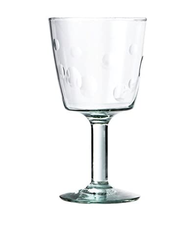 Be Home Set of 4 Recycled Glass with Dots 7-Oz. Footed Glasses, Clear