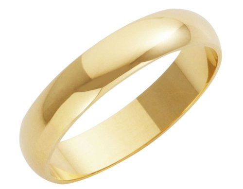 Wedding Ring, 9 Carat Yellow Gold Heavy D Shape, 4mm Band Width
