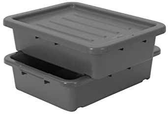 "Continental 1525GY-BP, Heavy-Duty Bus Tub and Lid, Bulk Packed, 5"" Depth, Grey (Case of 210)"