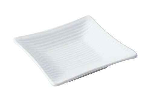 """Bon Chef 9920PWHT Footed Ribbed Platter, Aluminum Sandstone 5-3/4"""" Length x 5-3/4"""" Width, Asian/Fusion White (Pack of 6)"""
