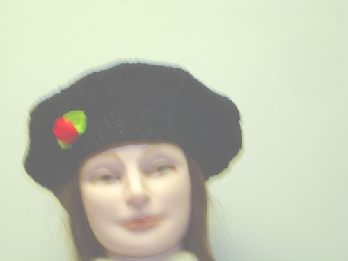 B121b, Hand Crocheted Black Chenille and Gimp Tweed Beret with One Red Green Flower for Women and Teens - Buy B121b, Hand Crocheted Black Chenille and Gimp Tweed Beret with One Red Green Flower for Women and Teens - Purchase B121b, Hand Crocheted Black Chenille and Gimp Tweed Beret with One Red Green Flower for Women and Teens (Gita, Gita Hats, Womens Gita Hats, Apparel, Departments, Accessories, Women's Accessories, Hats)