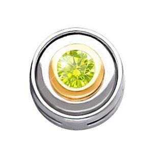 Round Bezel Set Chain Slide 14K White Gold Pendant with Greenish-Yellow Diamond 1/4 carat Brilliant cut