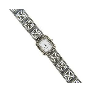 sterling silver marcasite square band watch