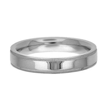 Comfort-Fit Flat Milgrain Wedding Band in 14k White Gold (4mm)