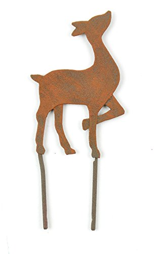 Touch Of Nature 1-Piece Miniature Garden Flat Metal Deer, 3.5-Inch